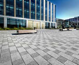 Plaza premium granite water-etched paving