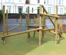 Timber climbing and play units for junior school