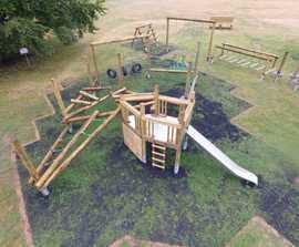 Bespoke natural timber playground for village green