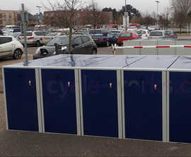 Colour-coded cycle lockers - Cambridge Park & Ride sites
