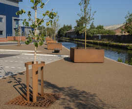 Corten steel street furniture package for Tyseley Wharf