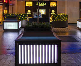 Illuminated planters and bench planters