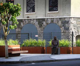 Corten steel planters with seating for public realm area