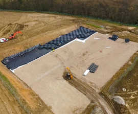 Attenuation tanks for water storage on mixed-use site