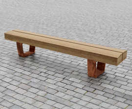 Type 1 up-cycled greenheart timber and corten bench