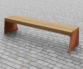 Slab Side corten steel and up-cycled greenheart bench