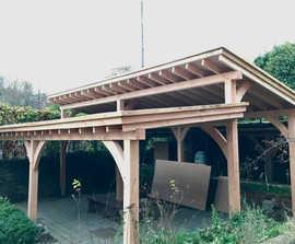 Timber-framed green roof shelter for conservation group