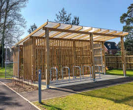 Bespoke timber-clad cycle shelter for new primary school
