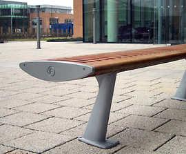 FOIL contemporary FSC timber and aluminium bench