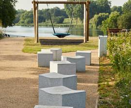 SERPENTINE granite outdoor stool