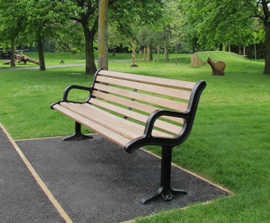 New Forest cast iron & timber bench seat