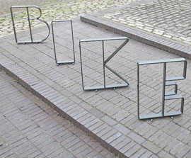 Letterform® steel cycle stands