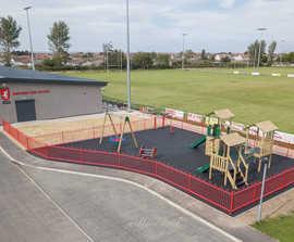 Metal bowtop playground fencing - Rhyl Rugby Club