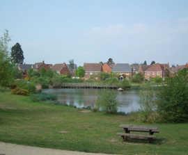 SuDS scheme, housing development, Hampshire