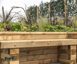 WoodBlocX™ bench seating planter