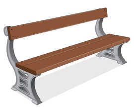 ASF 505 recycled cast iron and timber seat