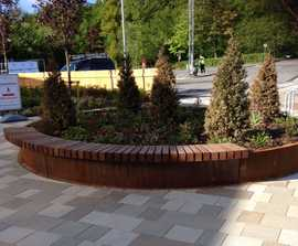 ASF bespoke corten steel planter and seating unit