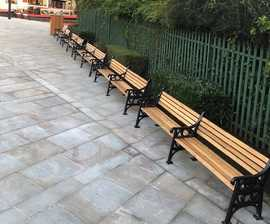 Extra long cast iron and timber seating for public realm