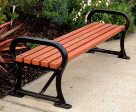 Avenue SF45 cast iron bench with hardwood slats