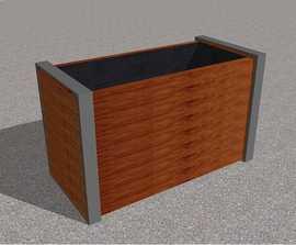 Cerro aluminium and hardwood planter