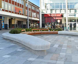Bespoke curved granite benches revitalise town centre