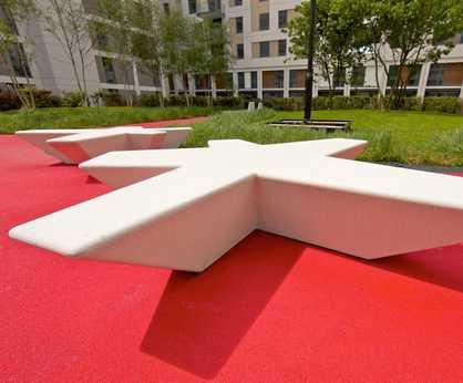 Flor cast stone bench
