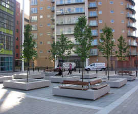 Basic inset granite benches for public square, Sheffield