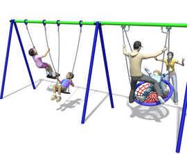 2 bay Flexi Swings with 2 flat and 1 basket swings