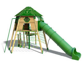 Timber Tree House with plastic slide