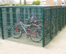 Individually lockable steel bike lockers