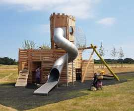Timber natural play equipment for new play park in Kent