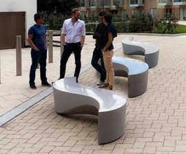 Wave granite aggregate concrete bench