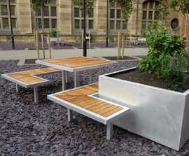 Campus co-ordinated benches, tables and planters