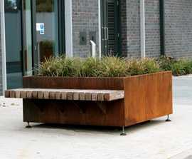 Exeter Corten Planter with Integrated Bench