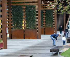 Corten steel planters - The Fort shopping mall, Glasgow