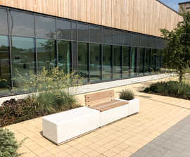 Aris concrete benches and planter system