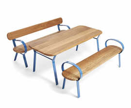 FOLK timber table with extruded aluminium profiles