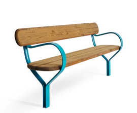 FOLK timber bench with aluminium supports