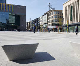 Cast stone seating for Rive Gauche commercial centre