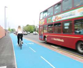 Colour cycle route surfacing improves connectivity