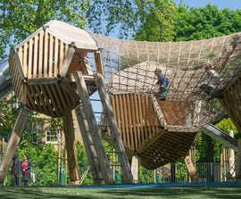 Robinia natural play structures, Burgess Park Playground