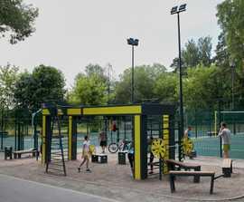 Outdoor fitness equipment helps regenerate park