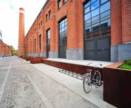 Corten steel street furniture for Arma business district