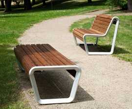 BOROLA bench with timber seat and aluminium side rails