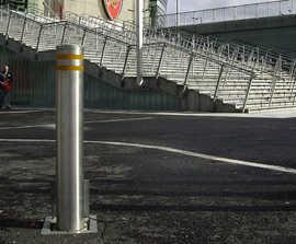 Crash rated security bollards for football stadium