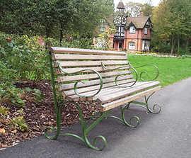 Bassenthwaite timber/wrought iron bench