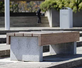 s56 - stone, galvanised steel and timber bench